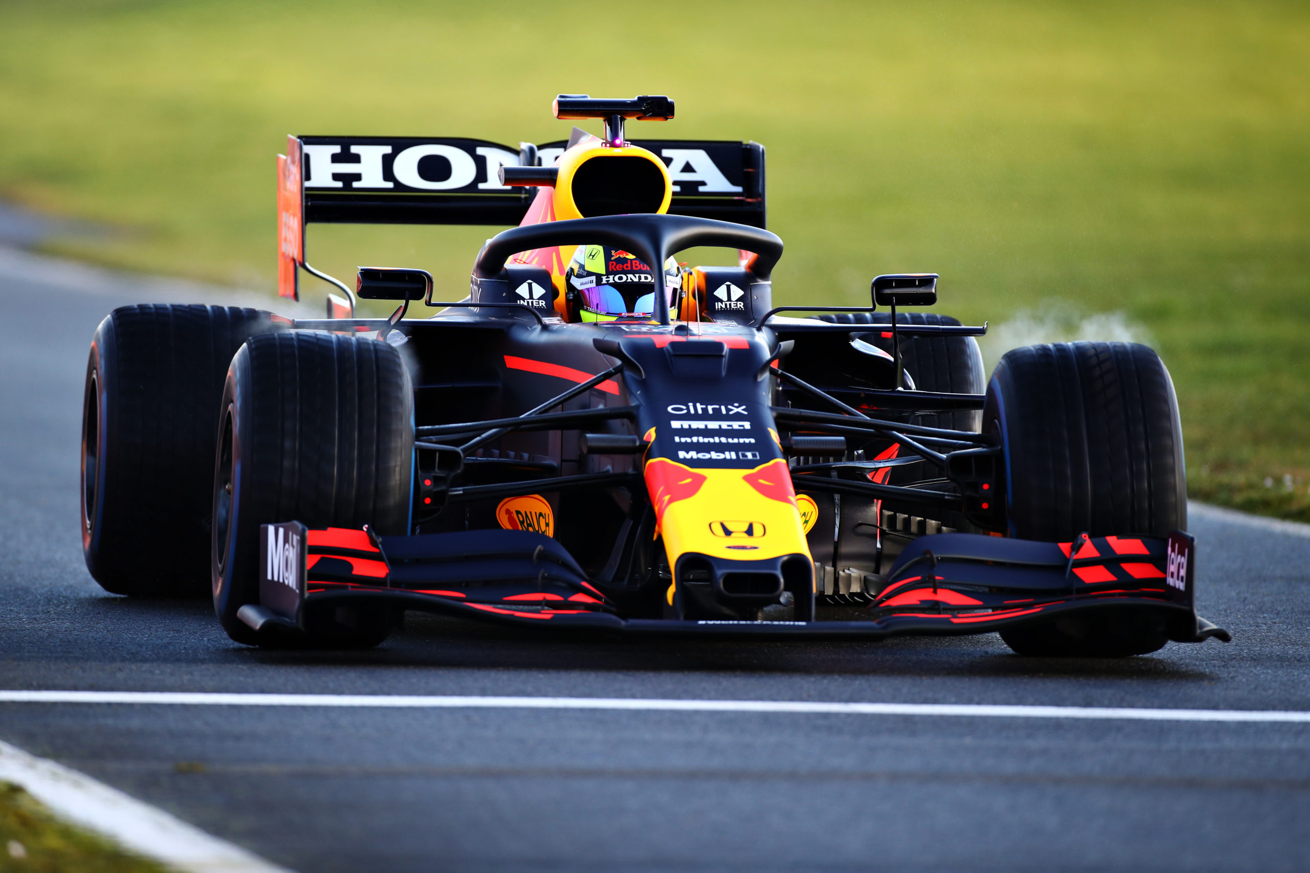 NORTHAMPTON, ENGLAND - FEBRUARY 22: Sergio Perez of Mexico driving the (11) Red Bull Racing RB15 Honda at Silverstone on February 22, 2021 in Northampton, England. (Photo by Bryn Lennon/Getty Images for Red Bull Racing) // Getty Images / Red Bull Content Pool  // SI202102230152 // Usage for editorial use only //