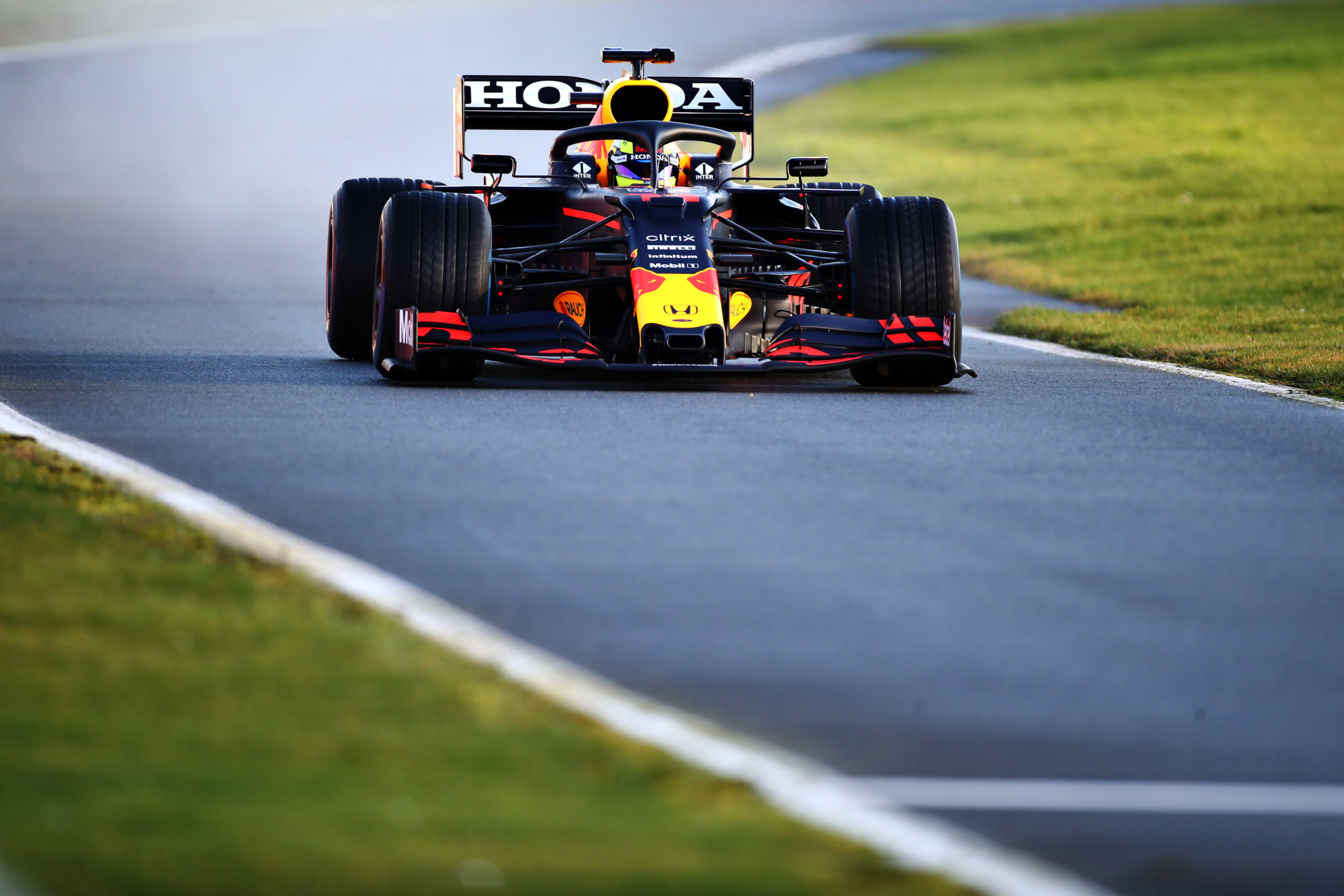 NORTHAMPTON, ENGLAND - FEBRUARY 22: Sergio Perez of Mexico driving the (11) Red Bull Racing RB15 Honda at Silverstone on February 22, 2021 in Northampton, England. (Photo by Bryn Lennon/Getty Images for Red Bull Racing) // Getty Images / Red Bull Content Pool  // SI202102230173 // Usage for editorial use only //