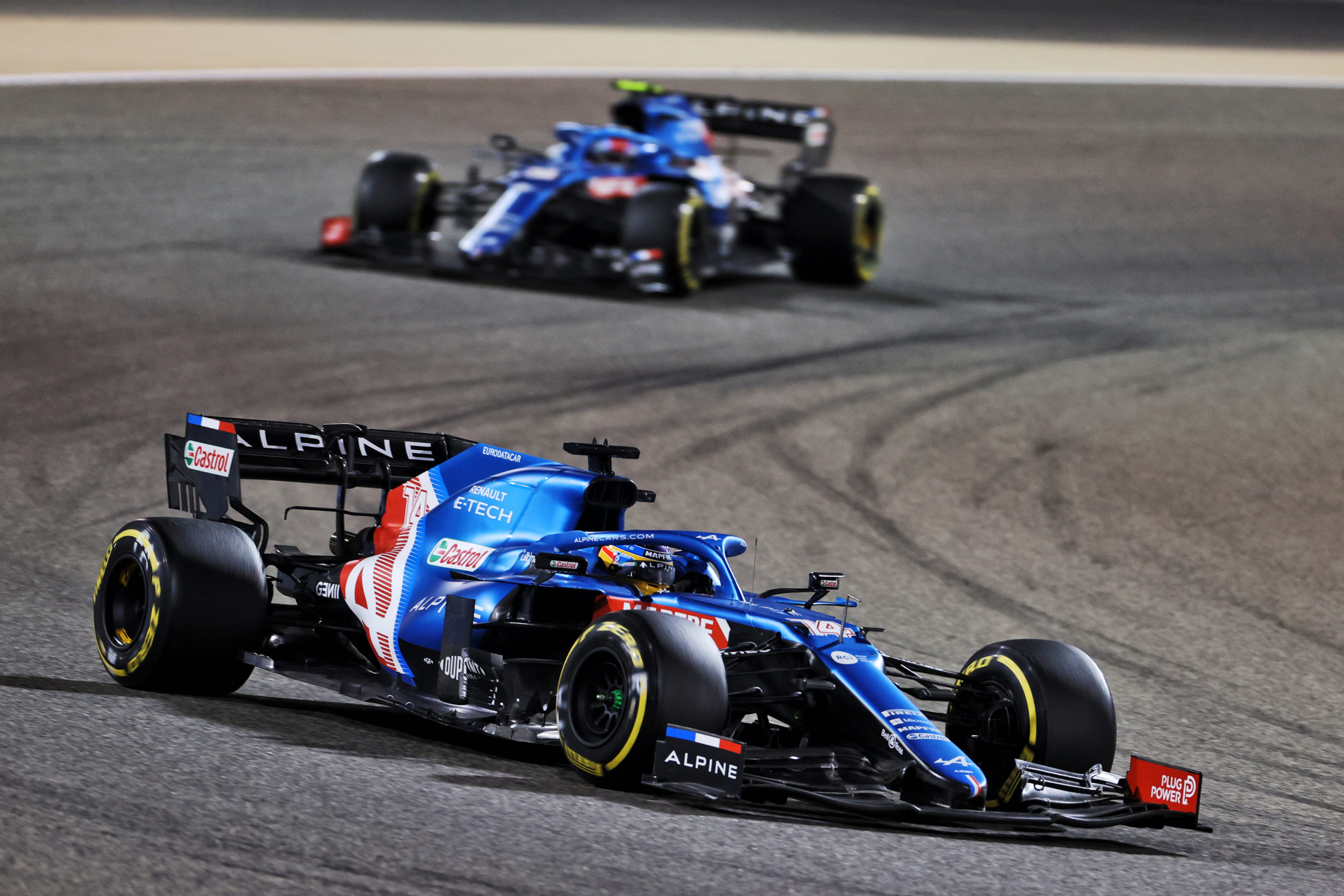 Fernando Alonso (ESP) Alpine F1 Team A521 leads team mate Esteban Ocon (FRA) Alpine F1 Team A521. Bahrain Grand Prix, Sunday 28th March 2021. Sakhir, Bahrain.